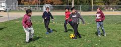 North School Boys Playing Soccer