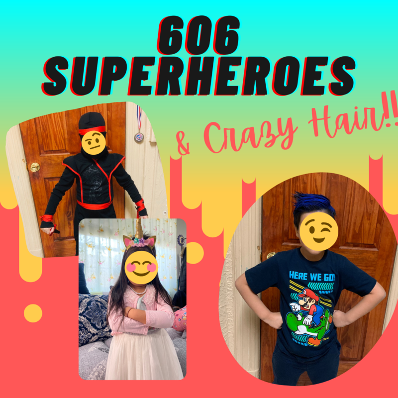 Students dressed as Superhero/ crazy hair collage