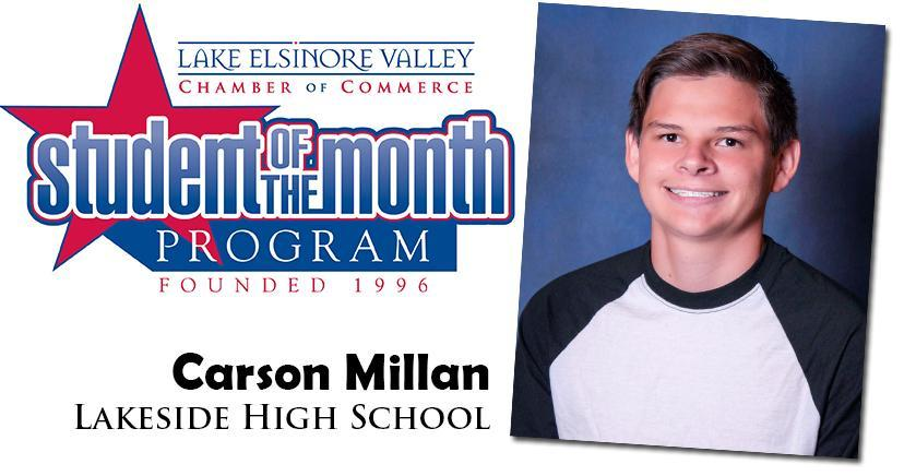 Carson Millan, Lakeside HS, Student of the Month Honoree for September 15, 2020.