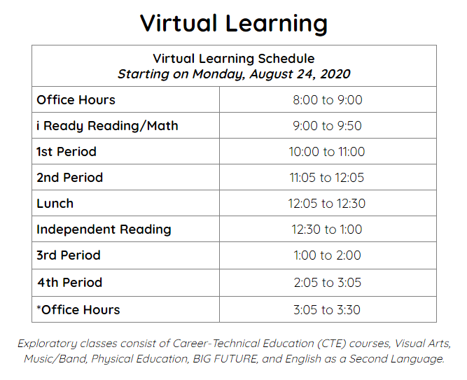 TMS Virtual Learning Schedule