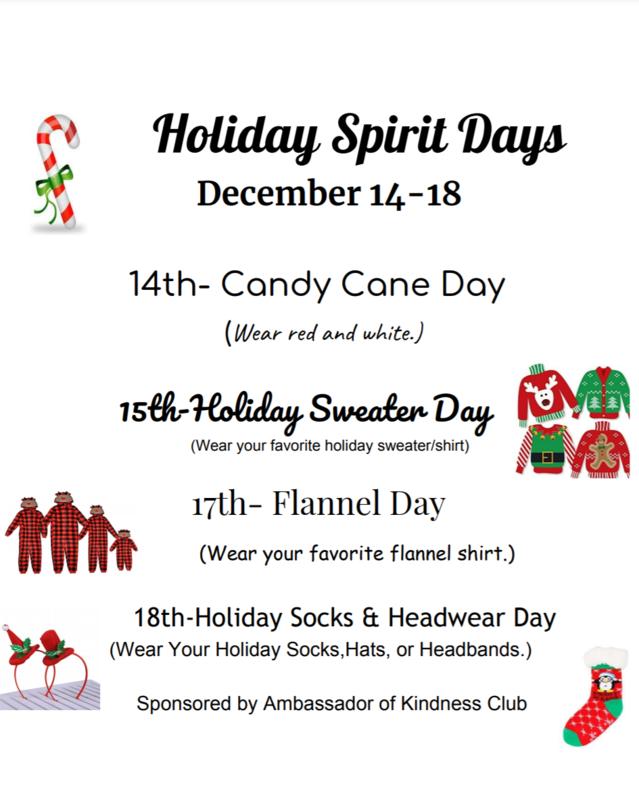 holiday spirit days schedule