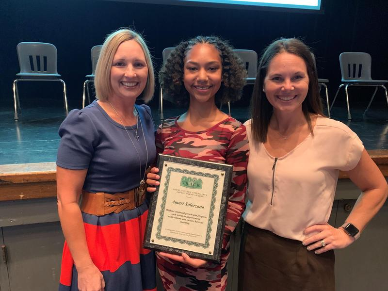 West High School senior Amari Solarzano receives the Daryl Thiesen Attendance Improvement Award