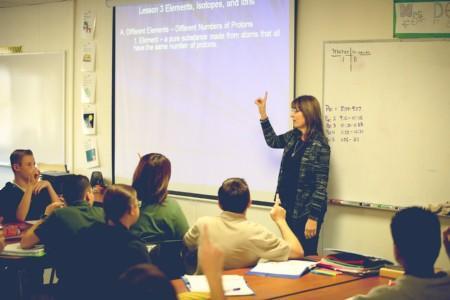 Teacher lecturing a class.