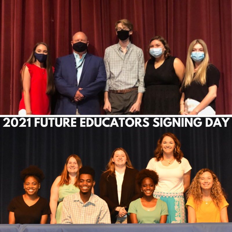 Student teachers pose for photo at Future Educator Signing Day ceremonies.