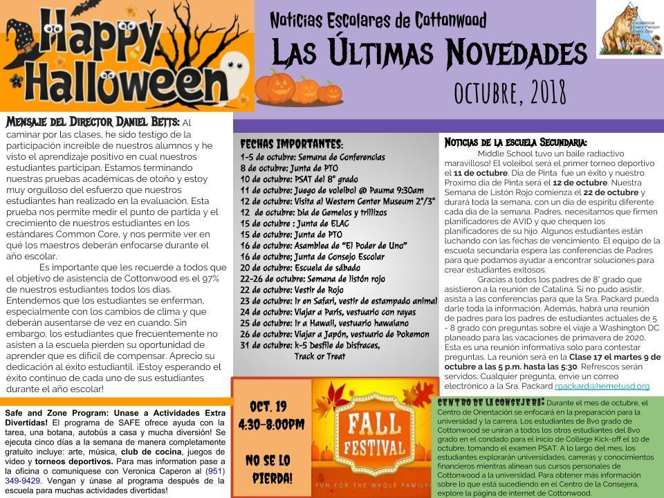 Fall Calendar for Spanish for October.