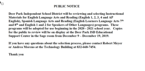 Instructional Materials Public Announcement