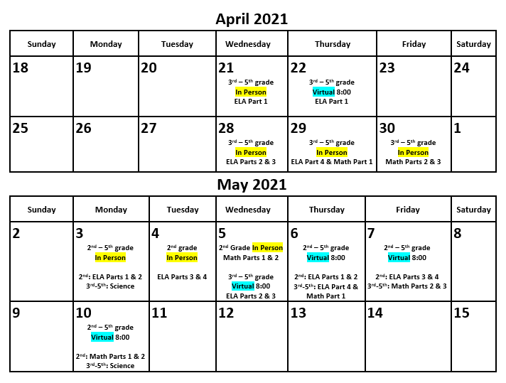 Southside Elementary TNReady Testing Schedule Featured Photo