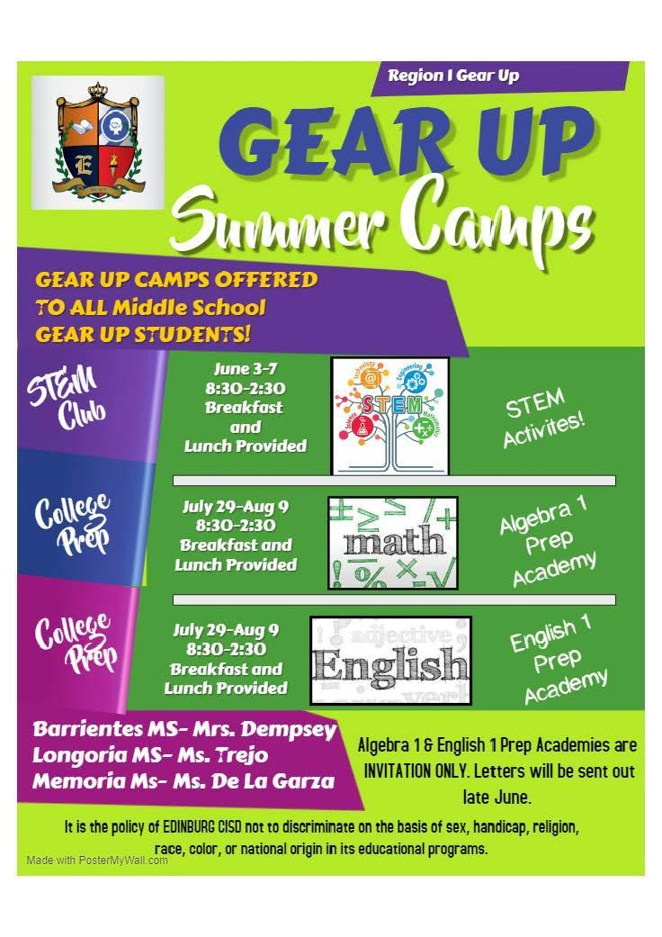 GEAR UP Summer Camp Flyer