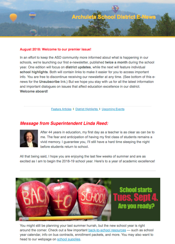 Graphic of first e-newsletter