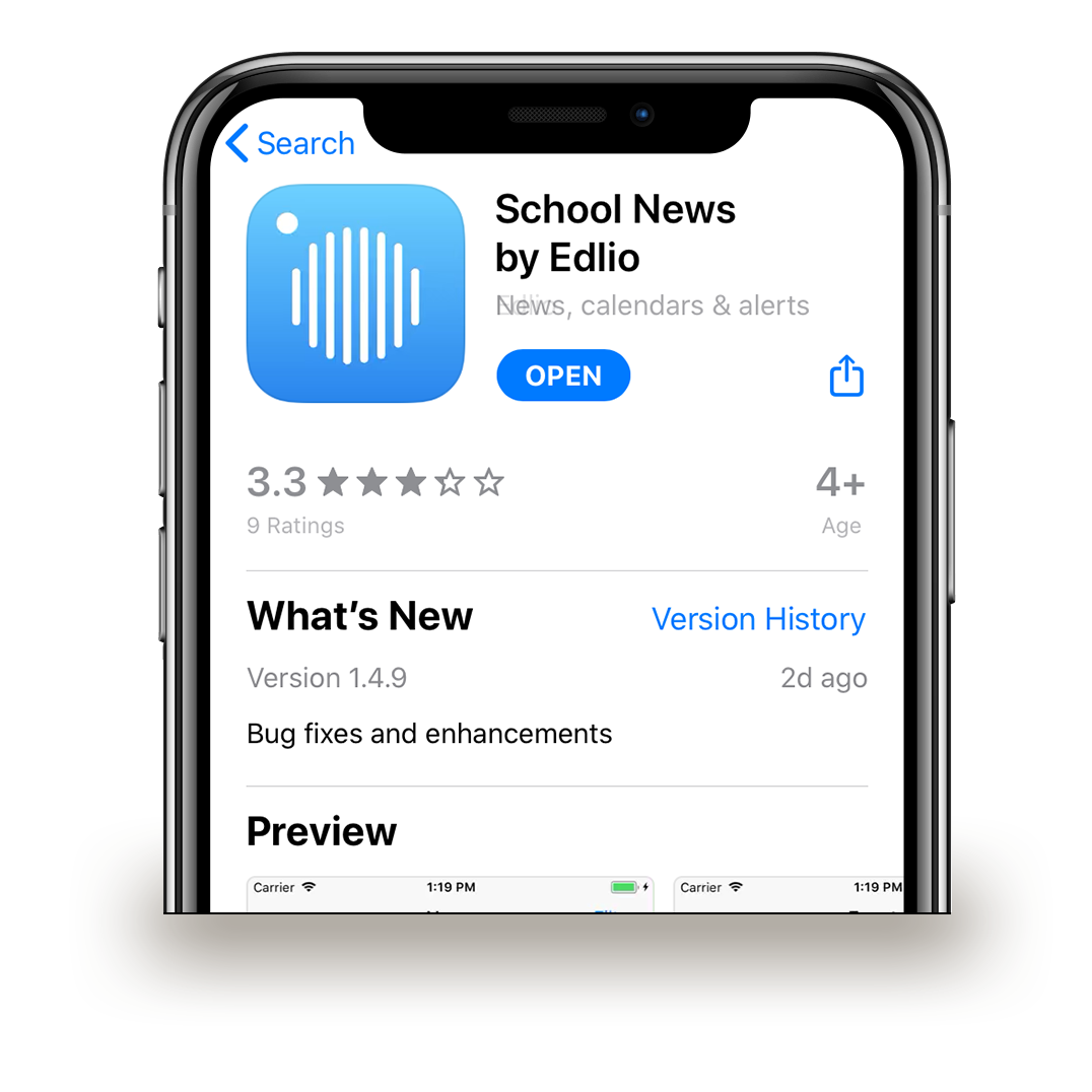 Search the Apple App store for 'School News by Edlio'