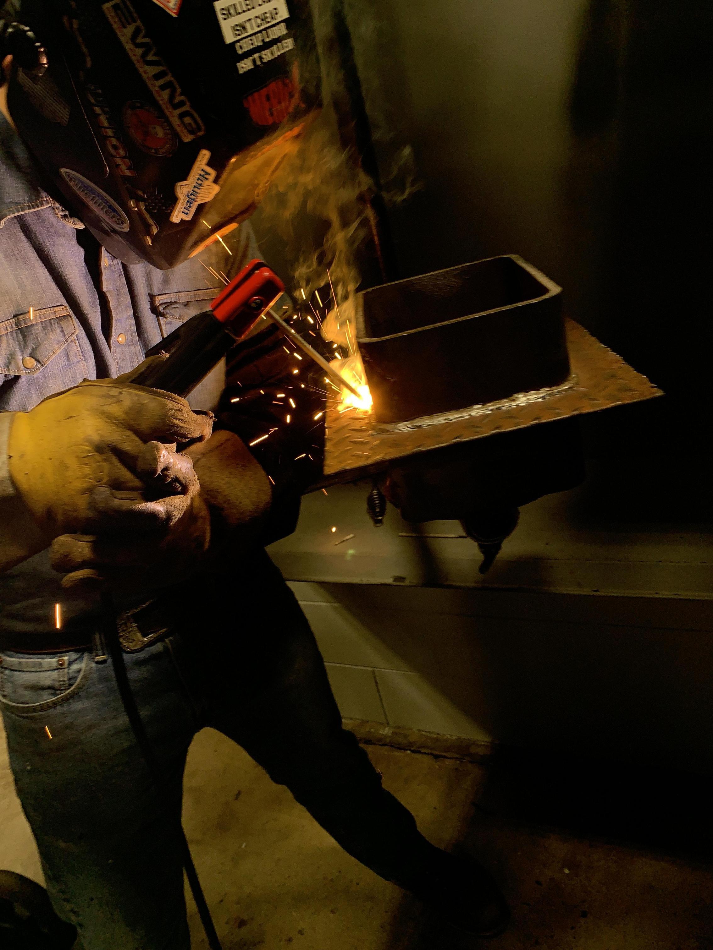 Student demonstrating stick welding.