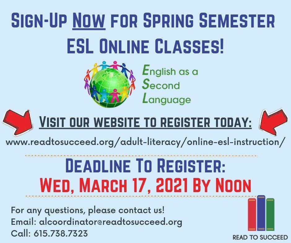 ESL Spring Online Classes