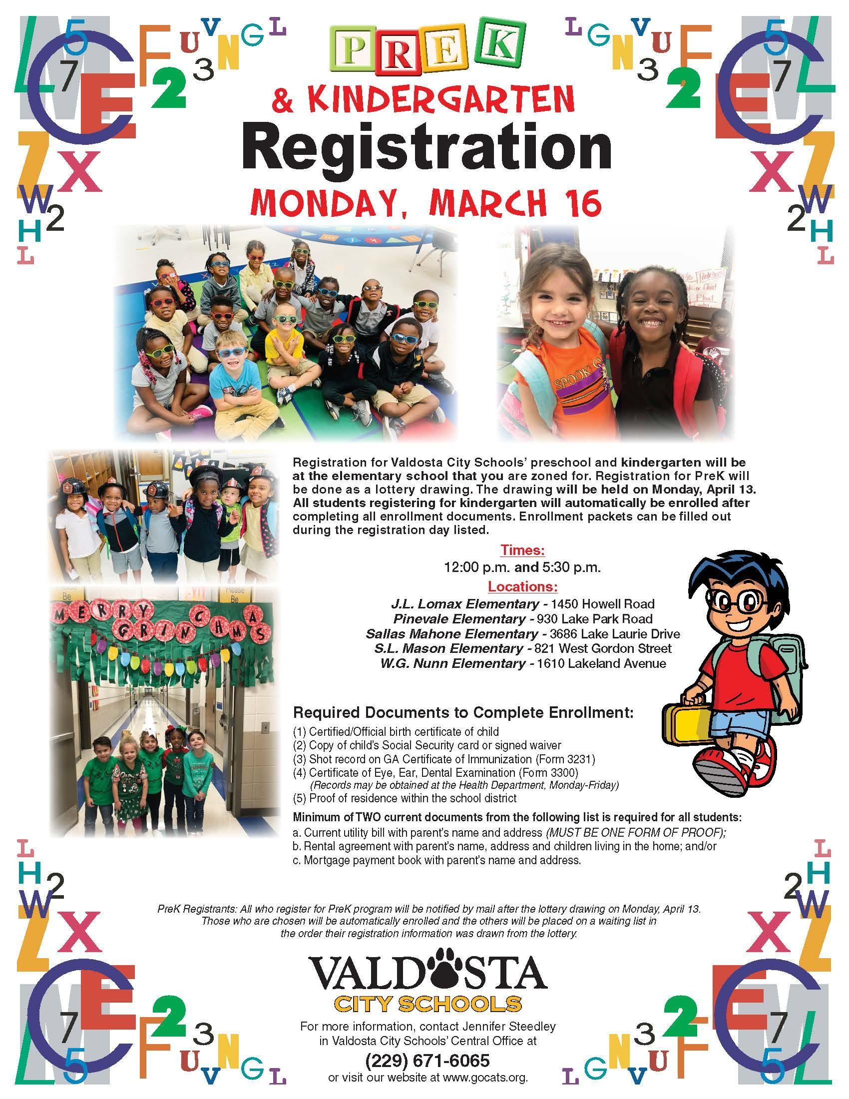 2020 PreK and Kindergarten Registration Flyer