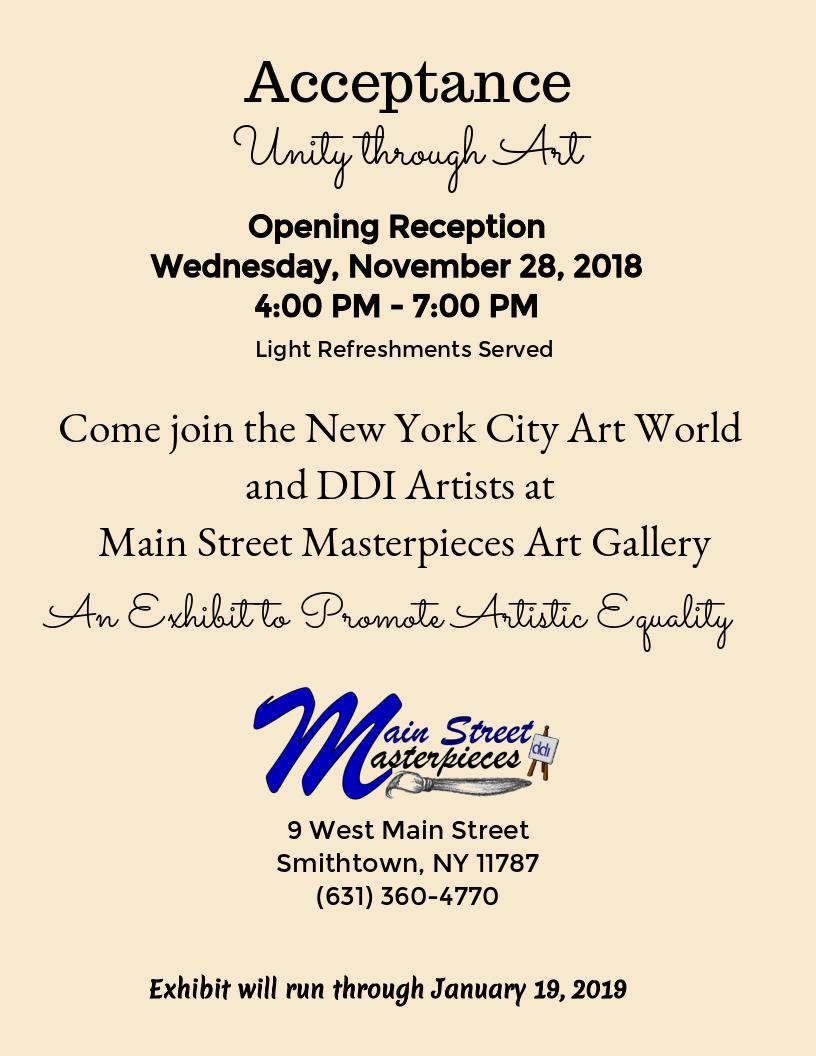 Acceptance art exhibit date, time, location