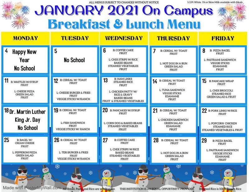January On Campus Menu