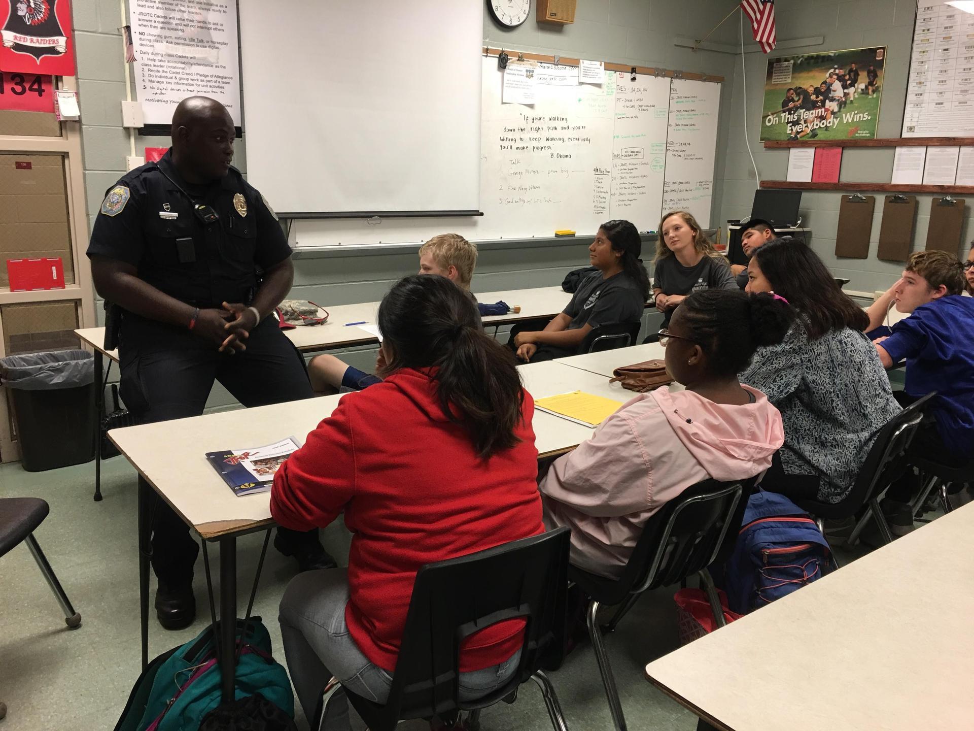 Officer Jones talks with Cadets