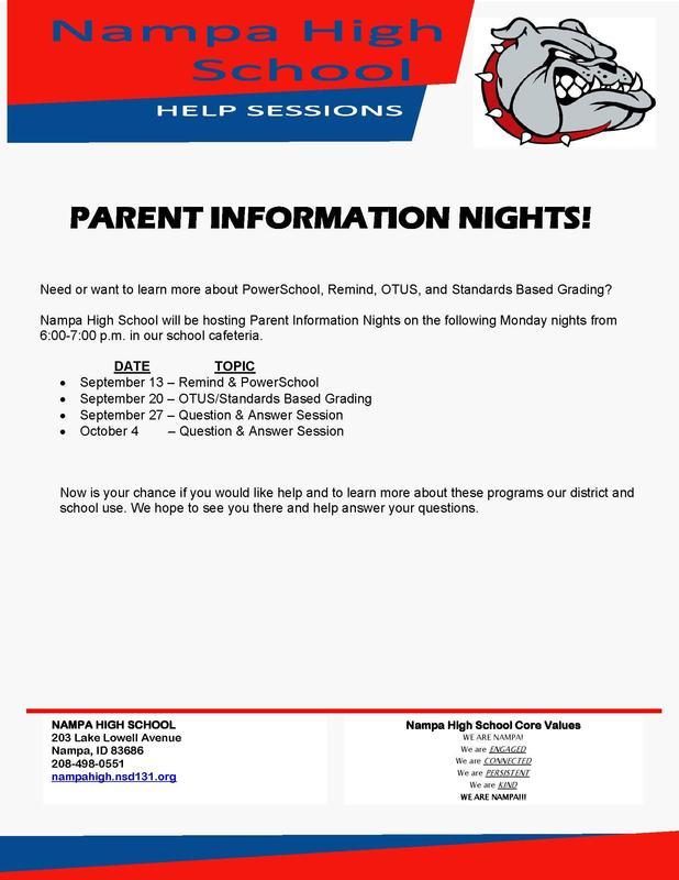 Parent Info Night Flyer
