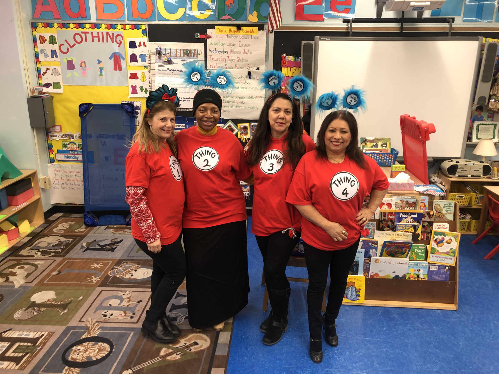 PK 1 Teachers dressed up for Cat in the Hat Day