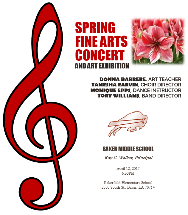 Flyer advertising the Baker Middle School Arts Concert  April 12th @ 6:30 p m