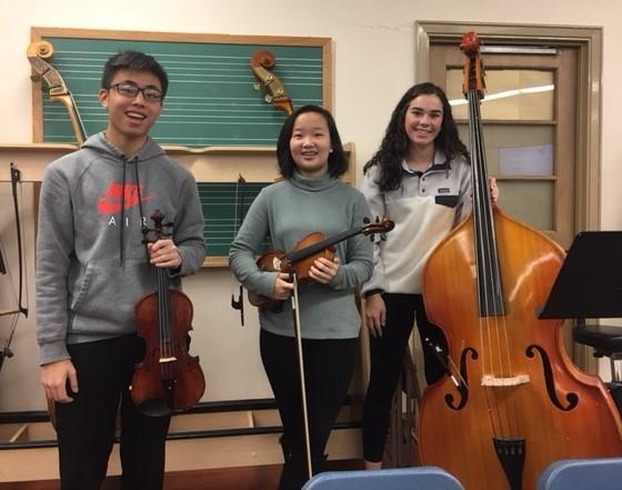 (From left) Westfield High School senior Kevin Li, freshman Amy Xiao and sophomore Kelly Eagan will perform with the CJMEA Region II Orchestra on January 6, 2019.
