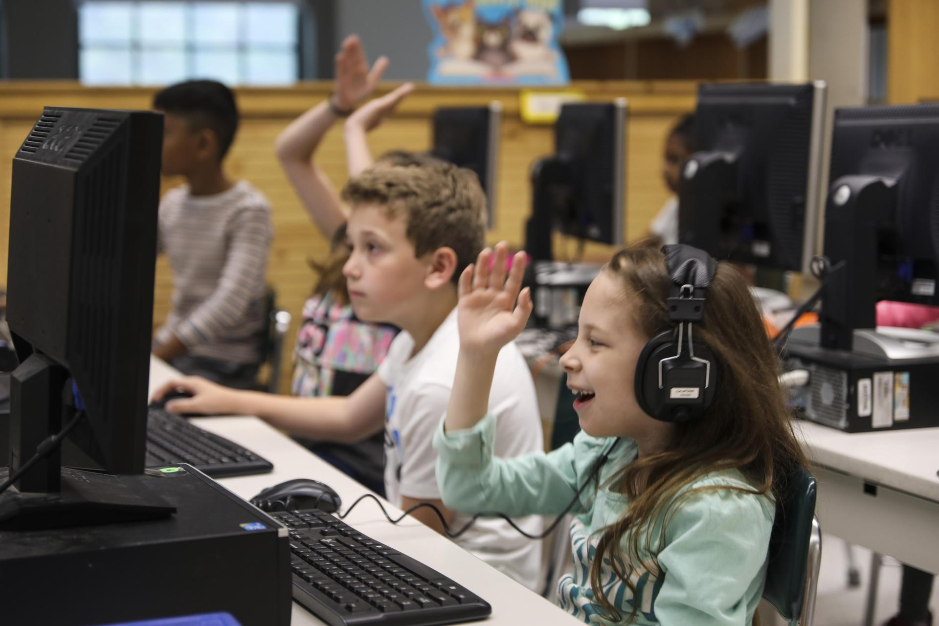 Hop Brook Elementary School students working on computers in a computer lab