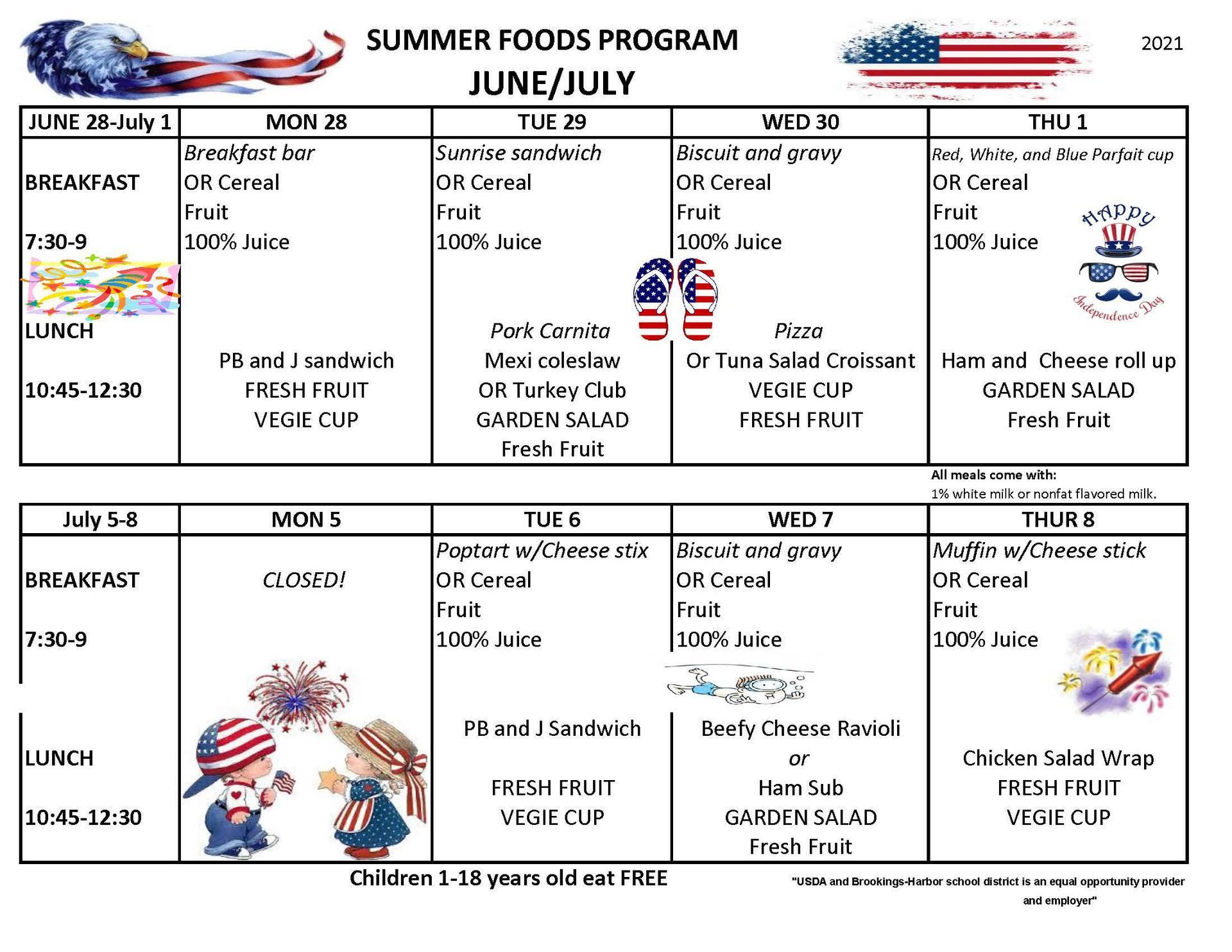 summer menus 2