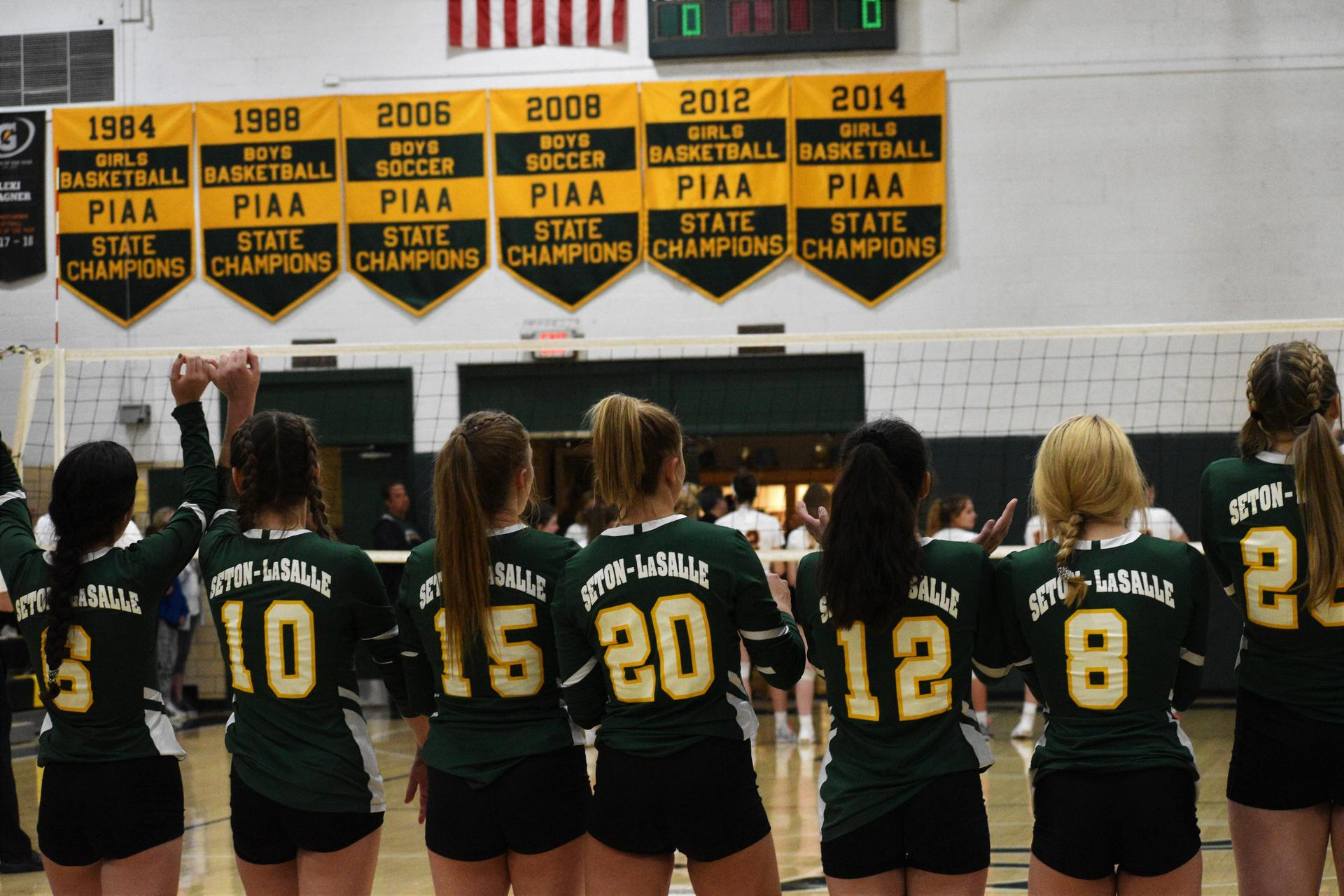 Girls Volleyball players lined up before the game