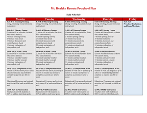 PK remote learning plans graphic