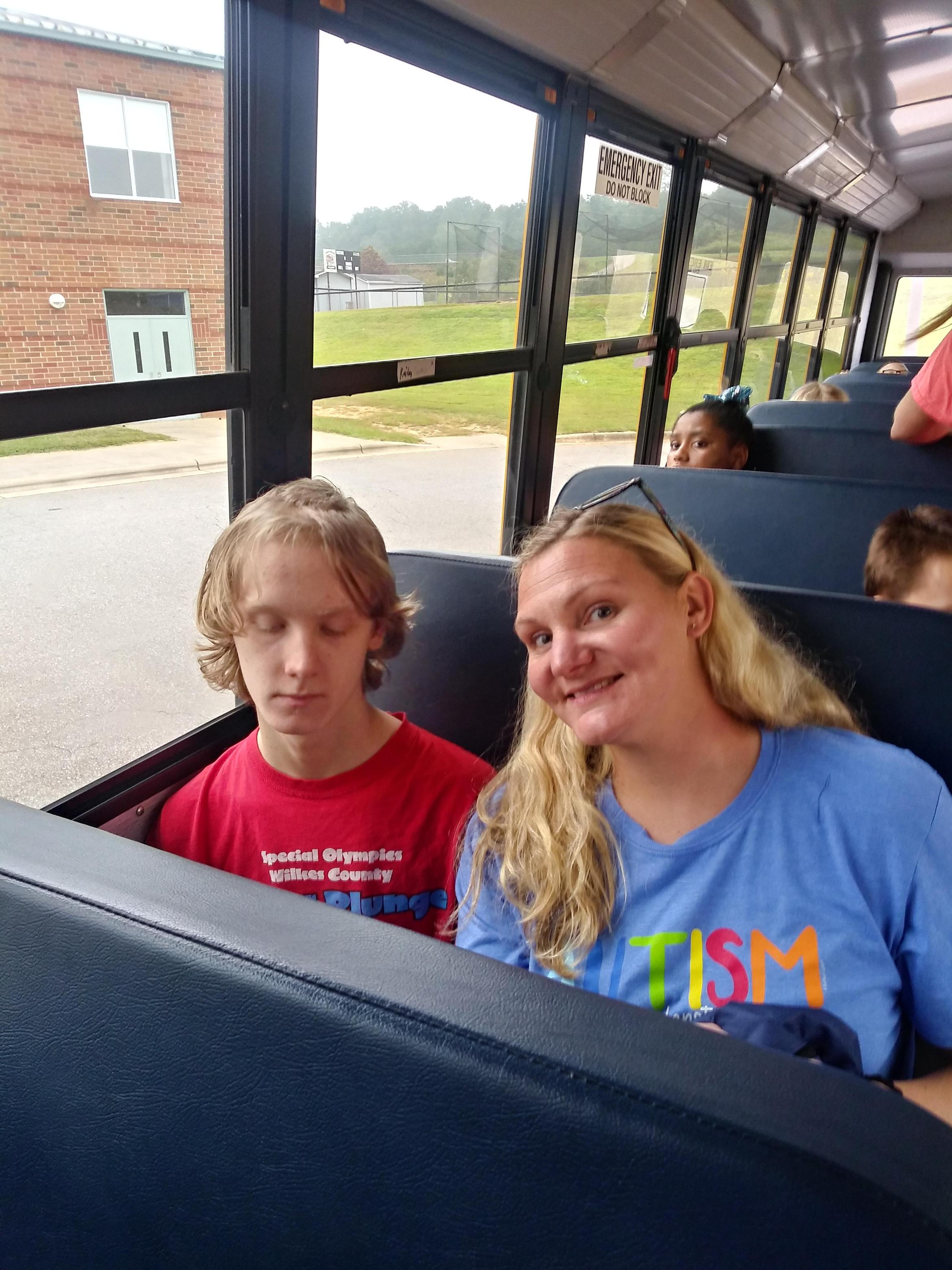 Mrs. G And student on the bus