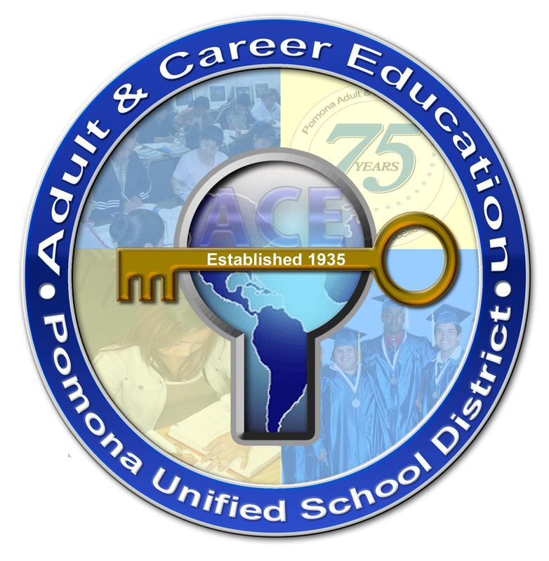 Adult and career education seal, showing a lock and key in the center with watermarks in yellow and blue