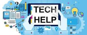 Image of a computer with the words tech help
