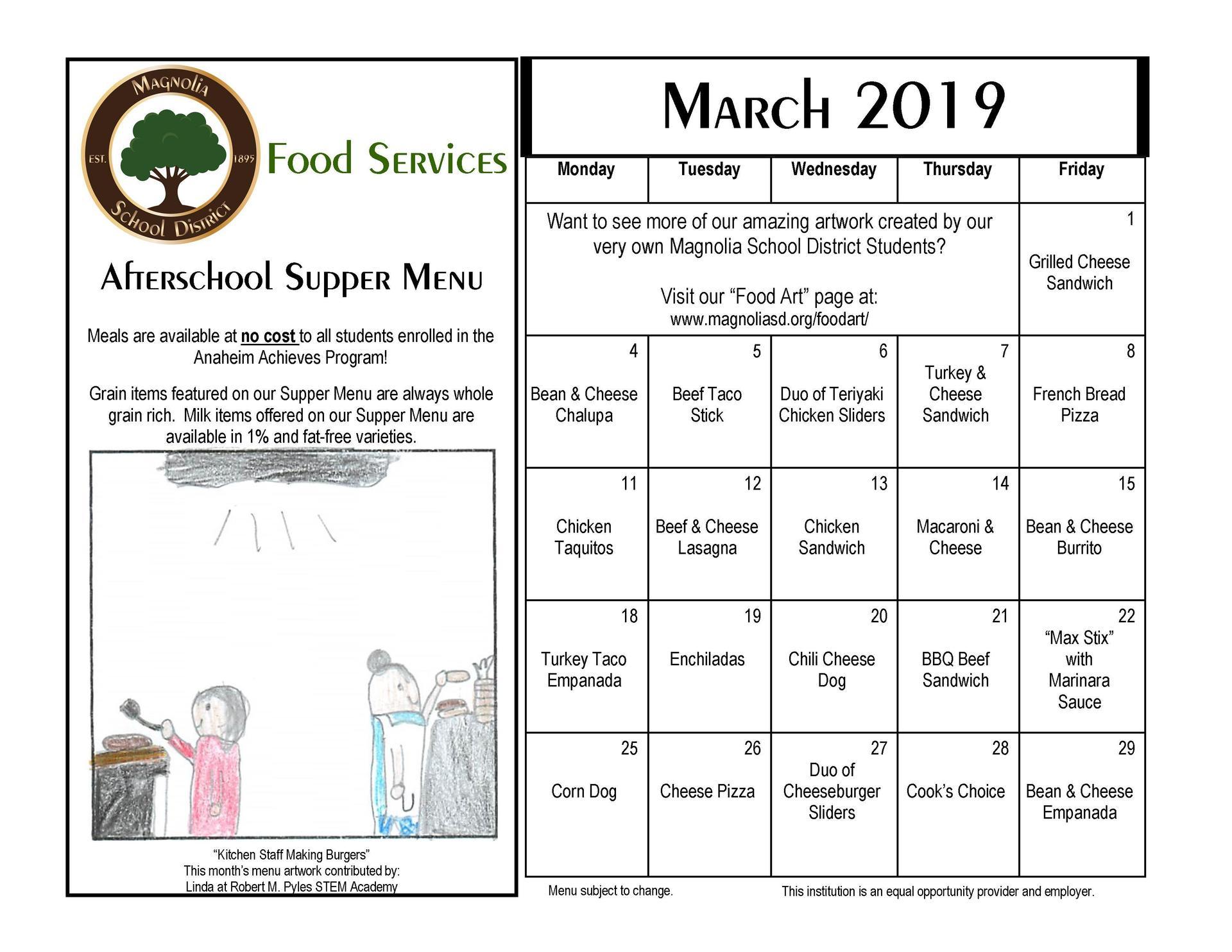 March Supper Menu