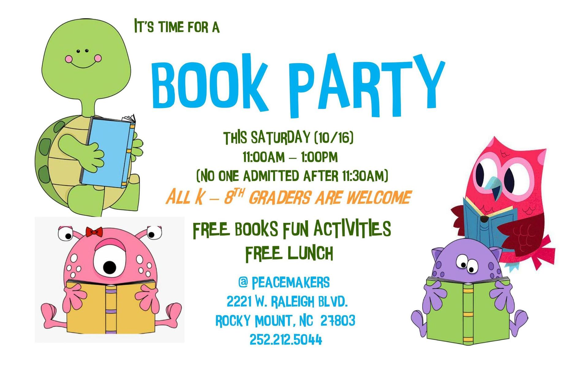 peacemakers book party flyer