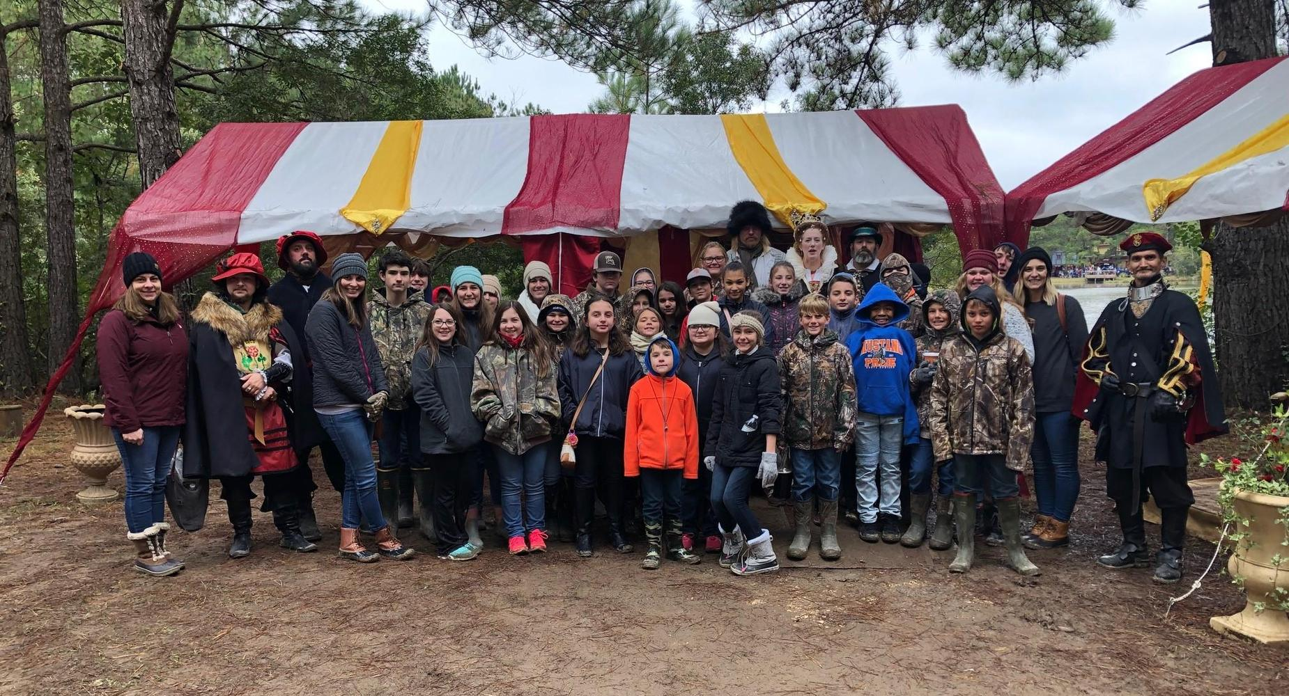 group pic of students at LA Renaissance Festival
