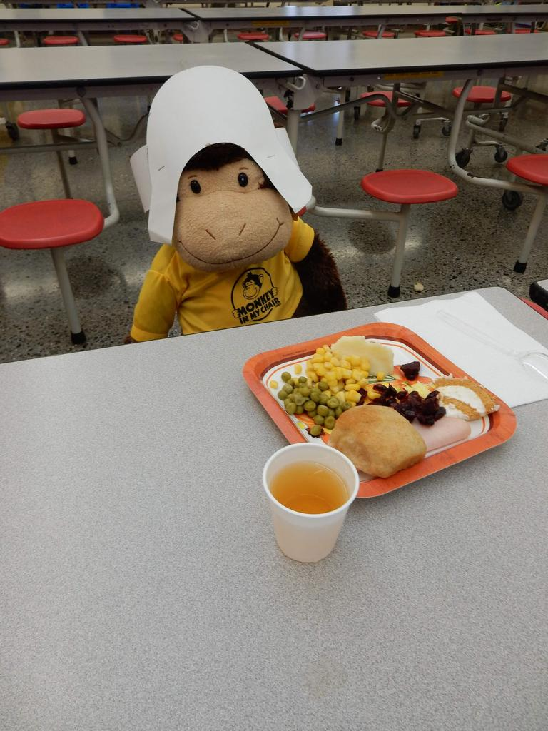"""""""Monkey in My Chair"""" having a Thanksgiving feast."""