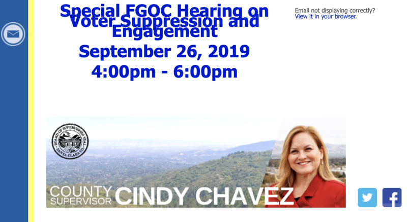 You're Invited - Please RSVP: Special Hearing on Voter Suppression and Engagement (Thursday, September 26, 2019) Featured Photo
