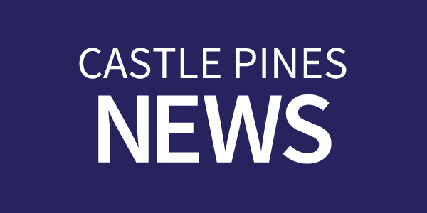 Castle Pines News text on a dark blue rectangle button