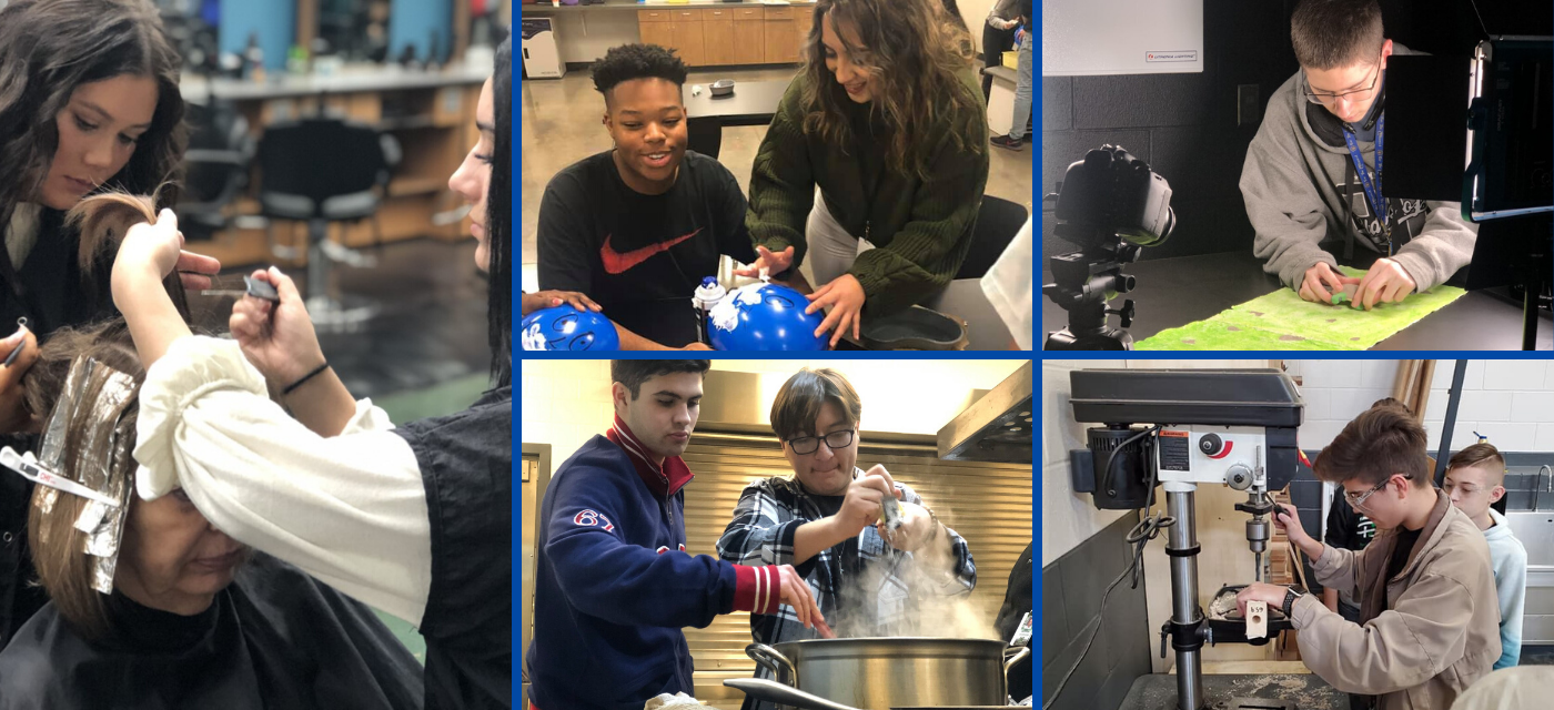 collage of cte students; 2 girls coloring hair in cosmetology; boy & girl shaving a balloon in health science; boy in audio visual class; 2 boys using electric drill in construction trades; 2 boys cooking in culinary arts
