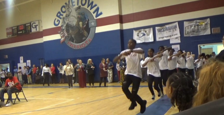 Steppers entering the gym