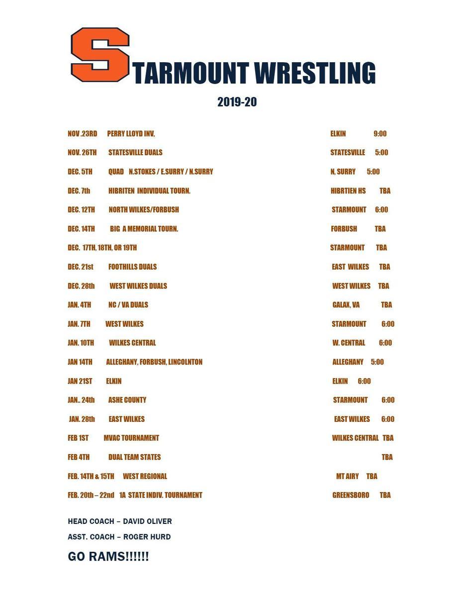 Starmount Wrestling Schedule 2019-2020