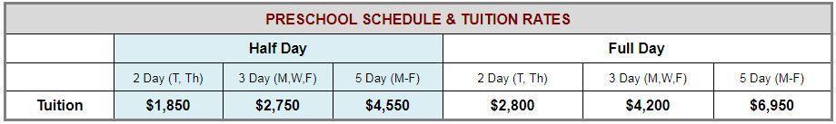 Preschool Schedule & Tuition Rates
