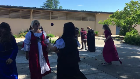 7th Graders juggling with Mrs. Twight