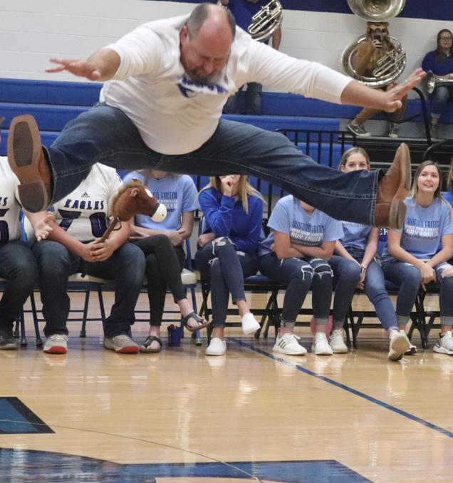 Mr. Wiggins does a toe touch