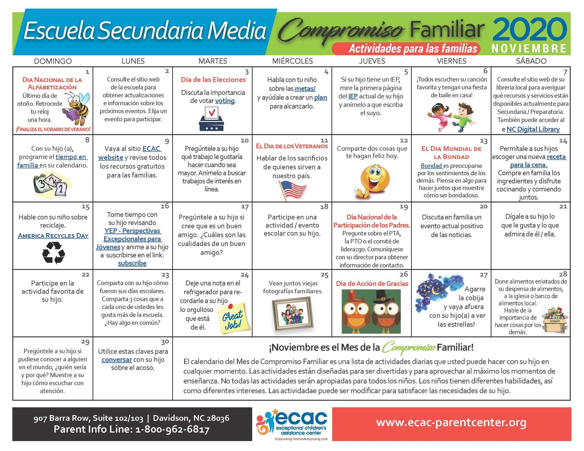 Early Childhood - Family Engagement Calendar - Spanish