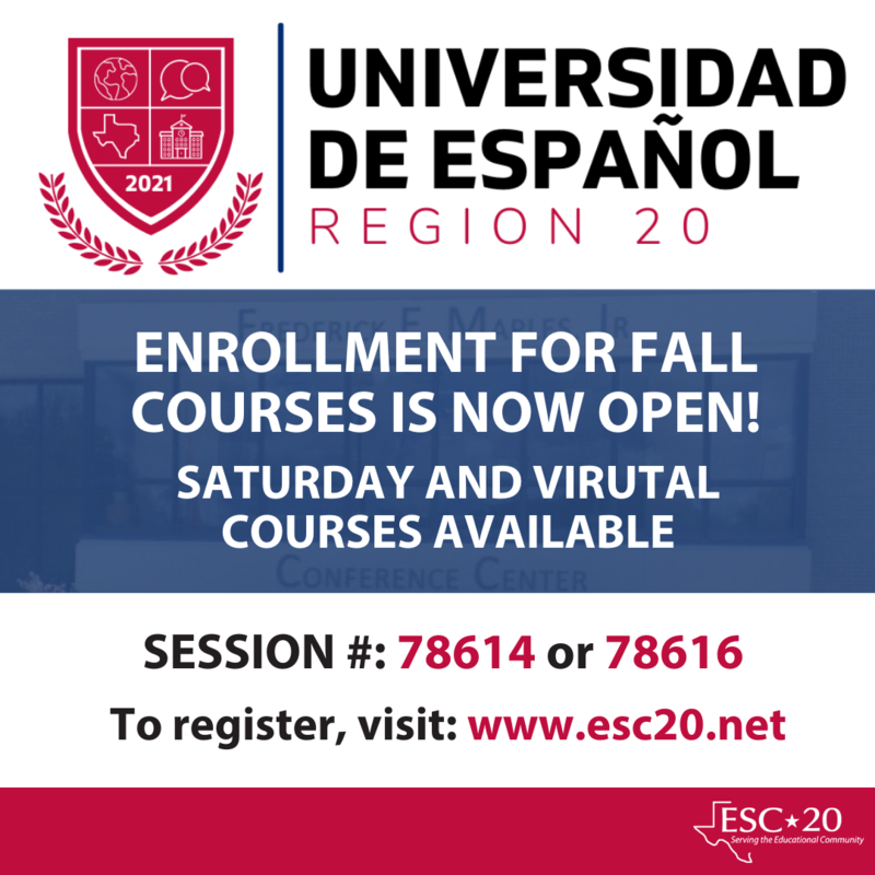 Spanish University, Enrollment for all courses is now open! Saturday and Virtual Courses available. Session #78614 or 78616 Register now!