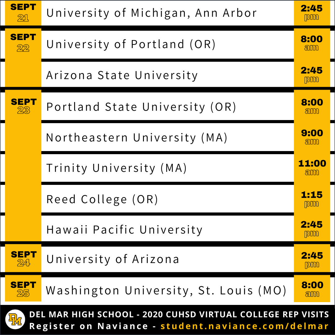 image of college rep visits for sept 21 to 25