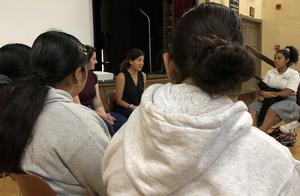 Director Joanna Lester talking with students