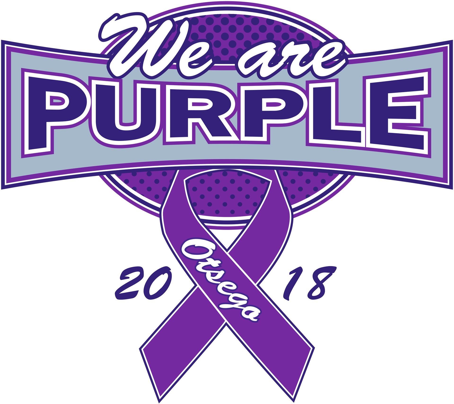 "Purple game tshirt logo reads ""We Are Purple"""