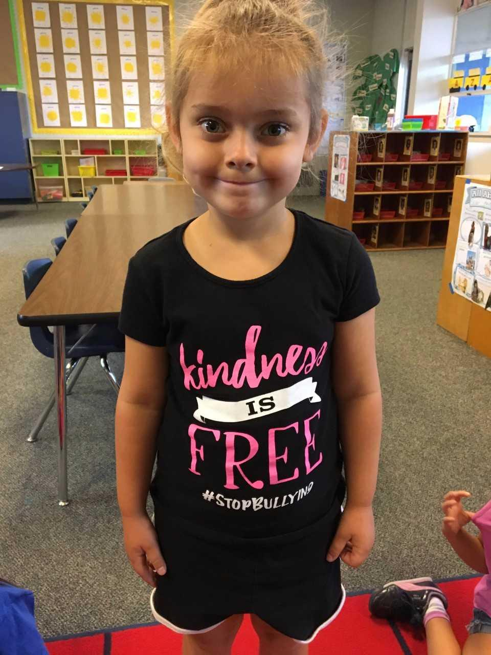 student wearing kindness shirt