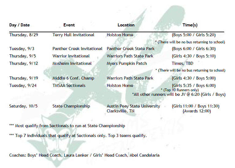 2019-2020 GMS Cross Country Schedule